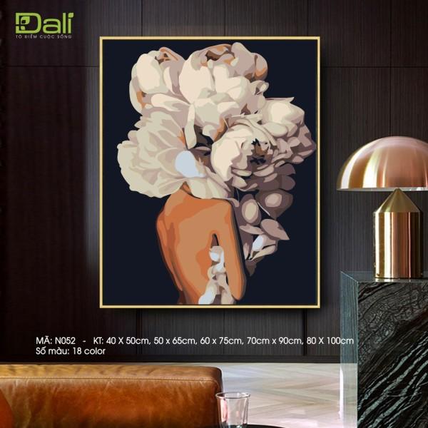 Tranh sơn dầu số hoá tự tô màu DALI Cô gái hoa hiện đại N052