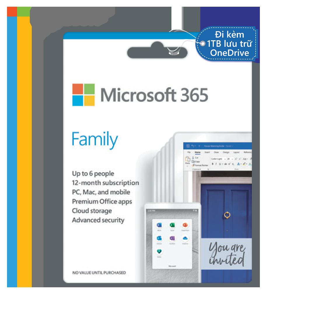 Phần mềm Microsoft 365 Family | 12 tháng | Dành cho 6 người| 5 thiết bị/người | Trọn bộ ứng dụng Office | 1TB lưu trữ OneDrive
