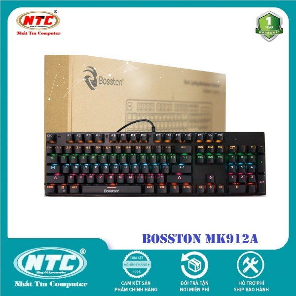 Bảng giá Bàn phím cơ chuyên game Blue Switch Bosston MK912 - thay đổi 9 chế độ đèn Led (Đen) - 10 PHÂN LOẠI TÙY CHỌN - Hãng phân phối chính thức - Nhất Tín Computer Phong Vũ