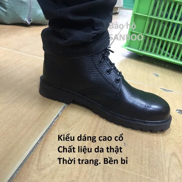 Giày bảo hộ lao động Cao cổ – Da thật - Đế chịu dầu - Chống va đập - Siêu bền bỉ - Đế đen