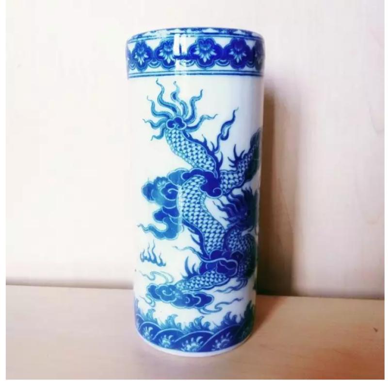 Ống hương thờ 20-23cm, họa tiết long phụng gốm sứ Bát Tràng