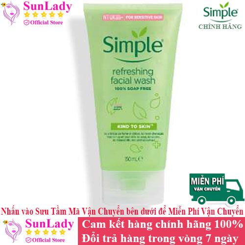 [HCM]Sữa Rửa Mặt Dịu Nhẹ Dạng Gel Simple Refreshing 150ml chính hãng - Sữa rữa mặt chống lão hóa trị mụn Simple - srm simple