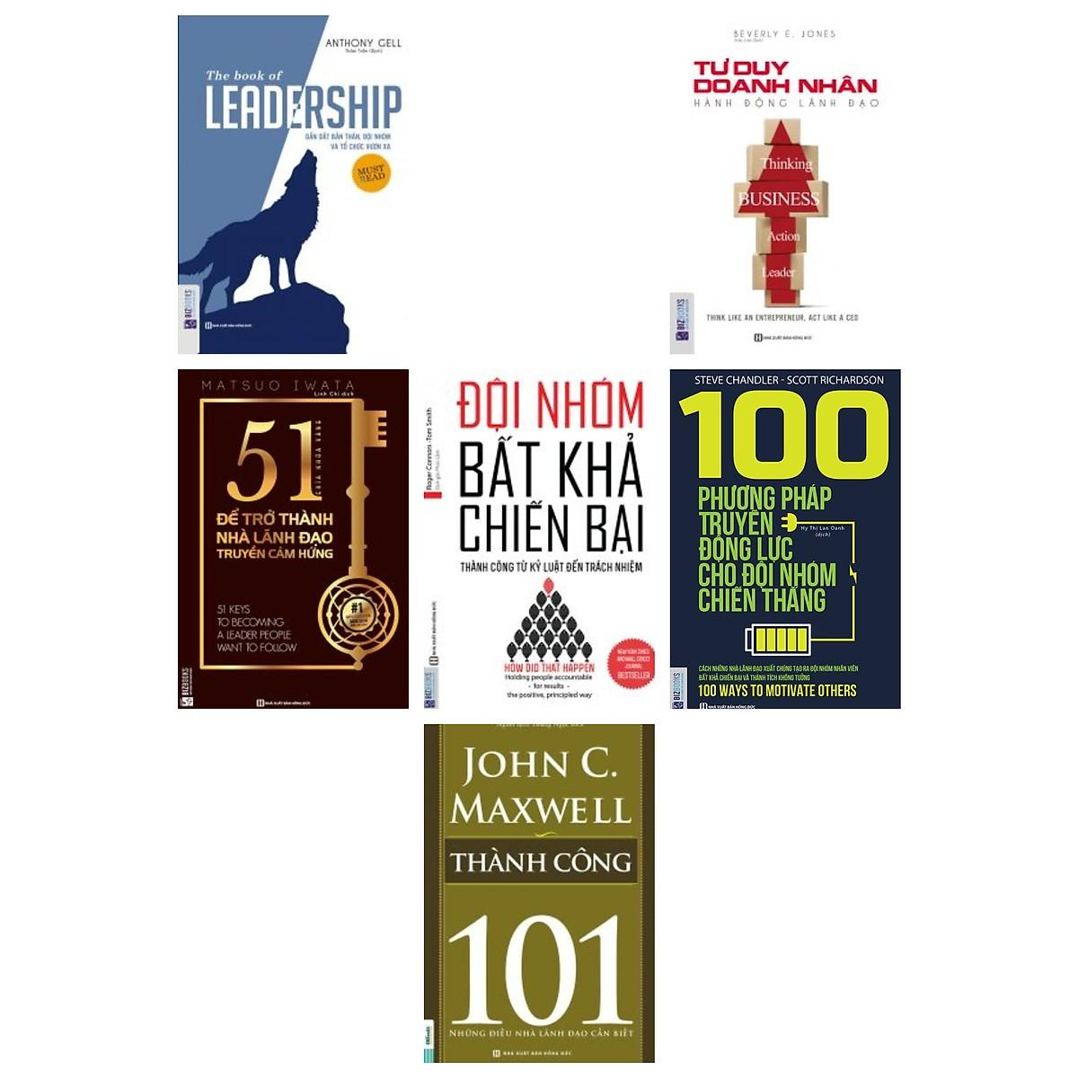 Mua combo 5 cuốn:Leadership + Tư duy doanh nhân hành động lãnh đạo + Để trở thành nhà lãnh đạo truyền cảm hứng + Đội nhóm bất khả chiến bại + 100 phương pháp truyền động lực cho đội nhóm(tặng cuốn thành công-101 nhà lãnh đạo cần bi�