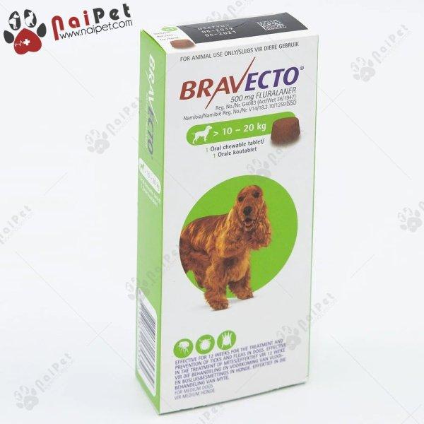Viên Nhai Phòng Chống Ghẻ Viêm Da Ve Rận Demodex Và Ký Sinh Trùng Khác Trên Chó Bravecto Hàng Có tem CT - Cho chó từ 10-20kg