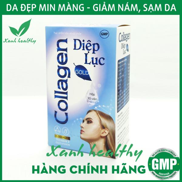 Viên uống giảm thâm nám Collagen Diệp Lục Gold (Cyan) - giúp giảm nám da, sạm da, nhăn da, làm đẹp da hiệu quả- Kết hợp Collagen, diệp lục, Vitamin E - Hộp 30 viên Hàng chính hãng