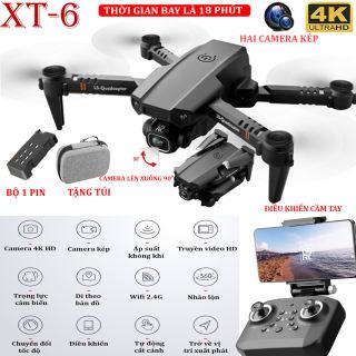 (BỘ 2 PIN) - TẶNG TÚI ĐỰNG- Flycam mini XT6 4K hai camera kép ổn định hơn, thời gian bay 15 phút, chế độ nhào lộn 360° - camera điều chỉnh lên xuống 90°, WIFI 2.4g truyền hình ảnh trực tiếp về điện thoại - BẢO HÀNH 3 THÁNG