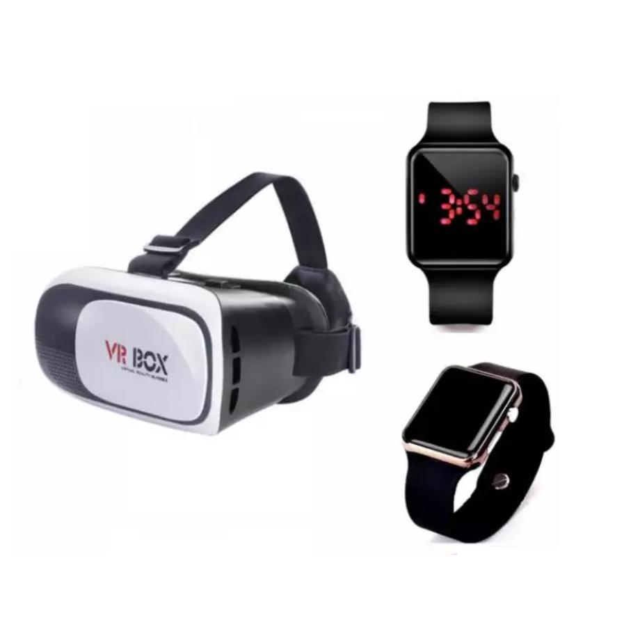 Kính thực tế ảo VR Box 3D + Đồng hồ điện tử thể thao chống nước mặt gương vuông, dây cao su (Đen)