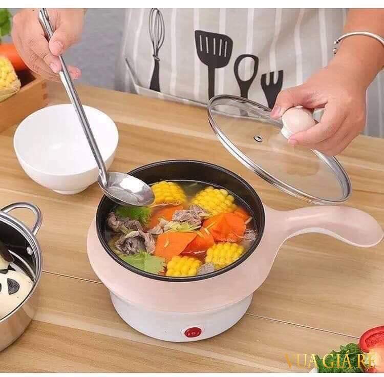 Ca nấu mỳ, ăn lẩu mini có tay cầm đa năng tặng kèm combo 4 khăn lau bếp