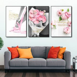Tranh canvas treo tường có khung cao cấp - Bộ 3 bức tranh vải canvas, tranh tráng gương treo tường phong cảnh bắc âu decor trang trí phòng khách, phòng ngủ sang trọng in 3D nghệ thuật hiện đaị - tặng kèm đinh - hình 2