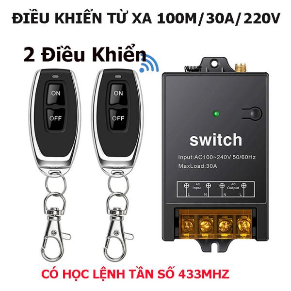 [BỘ 2 ĐIỀU KHIỂN MẪU MỚI 2021] Công tắc điều khiển từ xa rf 100m/30A/220V bật tắt từ xa máy bơm nước máy rửa xe