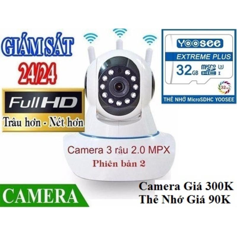 [ Camera 305K - Thẻ Nhớ Yoosee 32GB - 90K ] Camera IP Wifi Yoosee 3 Râu FULL HD Không Dây Phiên Bản 2019 Xoay 360 Độ