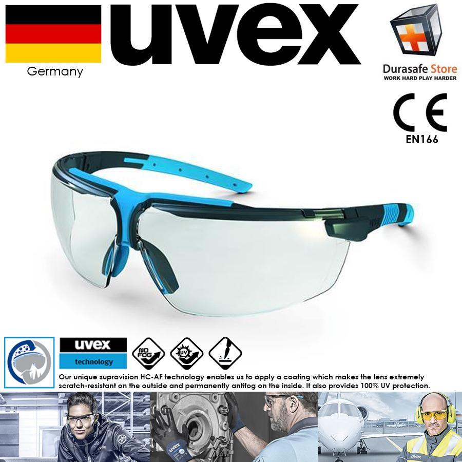 KÍNH UVEX 9190275 I-3 Safety Glasses Clear Supravision HC-AF Len (Gọng Đen phối Xanh, Tròng Trong Suốt), (kèm hộp)