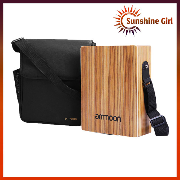 ammoon Portable Traveling Cajon Box Drum Flat Hand Drum Wooded Percussion Instrument with Strap Carry Bag