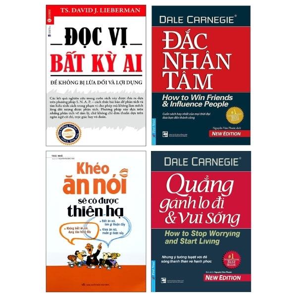 Mua Fahasa - Combo Sách Hay Đắc Nhân Tâm (Khổ Lớn) + Đọc Vị Bất Kỳ Ai + Quẳng Gánh Lo Đi Và Vui Sống + Khéo Ăn Nói Sẽ Có Được Thiên Hạ - Bản Mới (Bộ 4 Cuốn)
