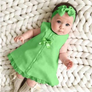 Cici Baby Store Dresses Baby Bé Gái Sơ Sinh Không Tay Maxi Giản Dị Váy Nơ + Bộ Khăn Quấn Đầu Trang Phục