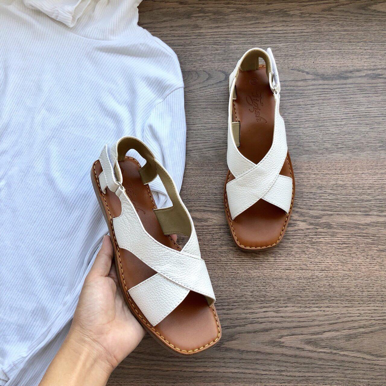 Giá bán ẢNH THẬT giày sandal đế bệt quai bảng to chống nắng thời trang