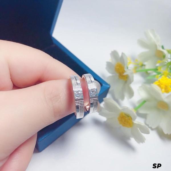 Nhẫn đôi nam nữ bạc ta mẫu 01