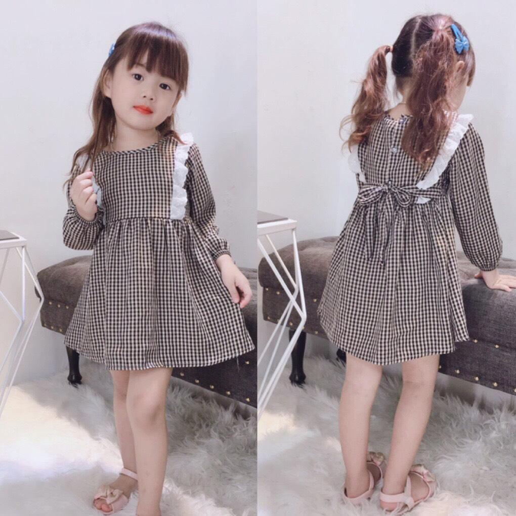 Giá bán [Kho buôn] Váy kẻ viền nơ hàng thu đông cho bé gái cực duyến dáng, váy đầm bé gái