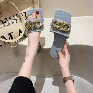Dép lê nữ quai ngang cao cấp phối Xích đồng cực xinh HOT 2021, dép nữ thời trang mang êm chân đi chơi, đi học, du lịch thumbnail