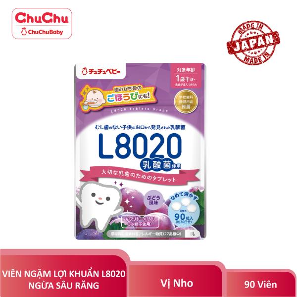Viên ngậm lợi khuẩn ngừa sâu răng L8020 chuchu baby vị nho 90 viên HSD T8.2021 chính hãng giá rẻ