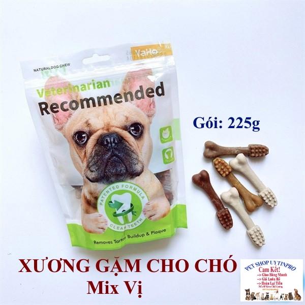 XƯƠNG GẶM CHO CHÓ THÚ CƯNG Yaho Veterinarian Recommended Mix vị Gói 225g Giúp sạch răng Thơm miệng Loại bỏ mảng bám