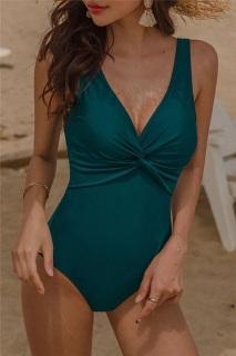 [RẺ VÔ ĐỊCH] Bikini, đồ bơi 1 mảnh liền thân che bụng màu xanh, xoắn ngực thumbnail