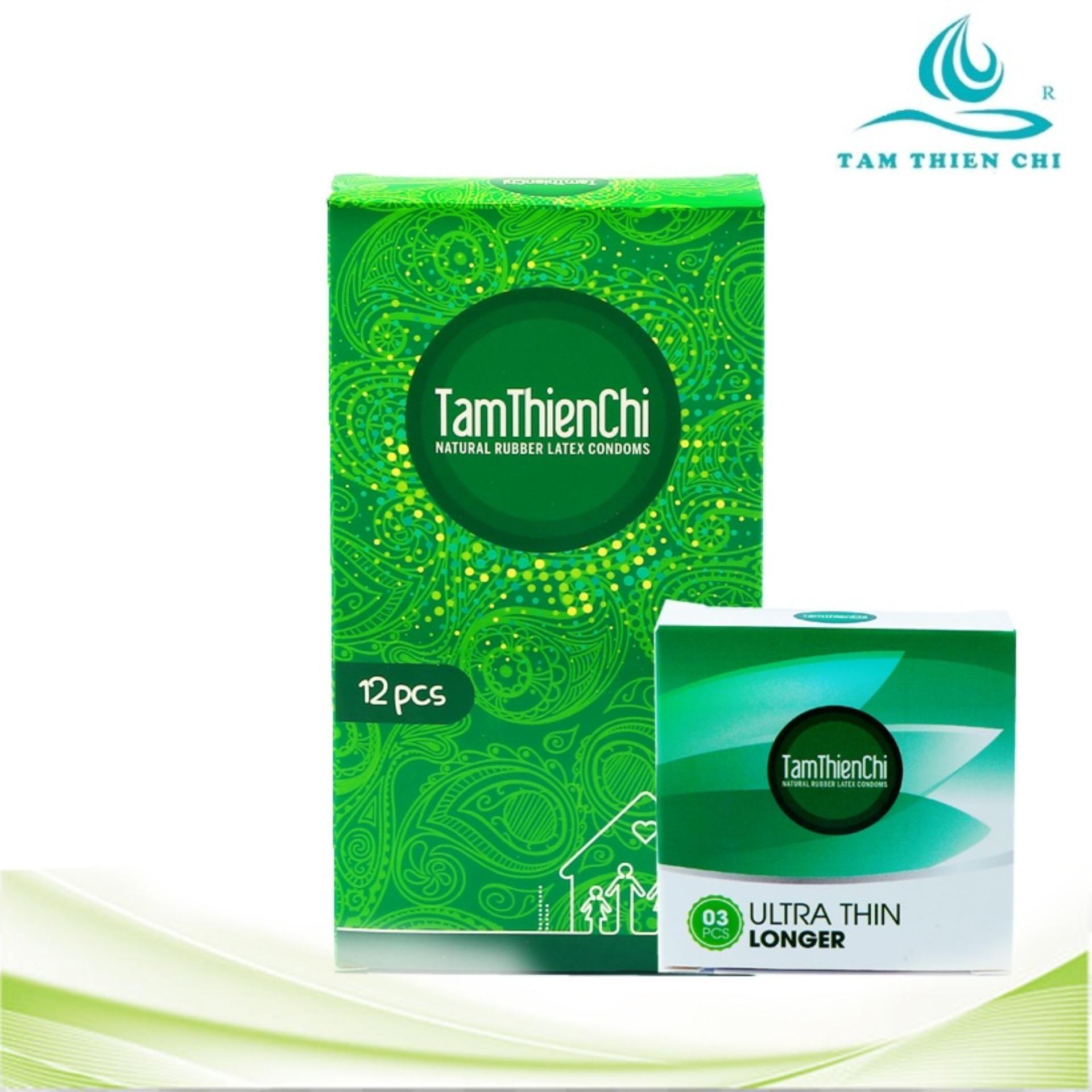 Bao cao su mỏng truyền nhiệt Tâm Thiện Chí Family hộp 12 cái và 1 hộp bao cao su siêu mỏng kéo dài TTC Ultrathin Longer hộp 3 cái nhập khẩu