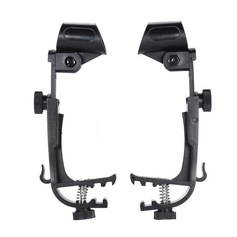 2pcs Drum Clamp Clip On Drum Rim Microphone Mic Mount Holder Adjustable Shockproof,Black - intl