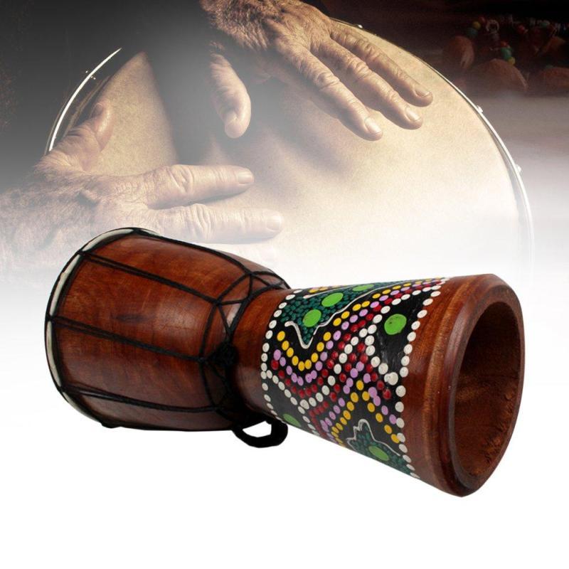 4 inch Châu Phi Djembe Bộ Gõ Gỗ Gụ Tay Trống với Dê Bề Mặt Da-quốc tế