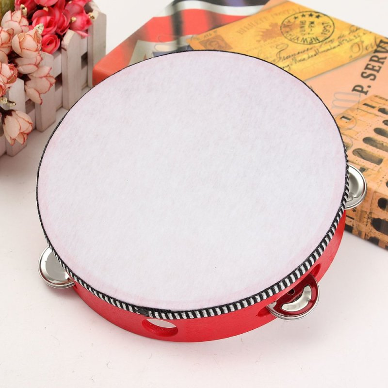 childrens percussion dance props sheepskin tambourine parent-child communication hearing grasping for 3-6 years old 8 inch (red polyester leather) - intl