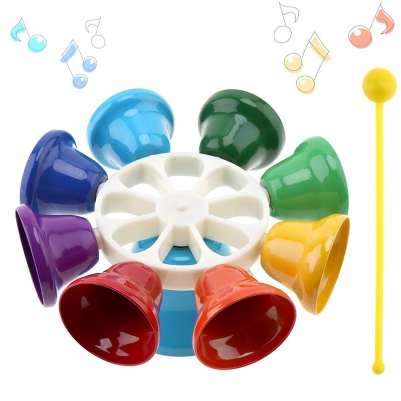Nhiều màu sắc 8 Note Bộ Gõ Chuông Tay Chuông Âm Nhạc Trẻ Em Đầu Giáo Dục Âm Nhạc Cụ-intl