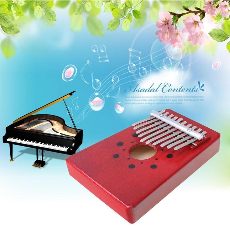 Cúc đàm 10 Phím Ngón Tây Piano Kalimba Mbira Likembe Sanza Ngón Tây Cái Đàn Piano (Đỏ) -quốc tế