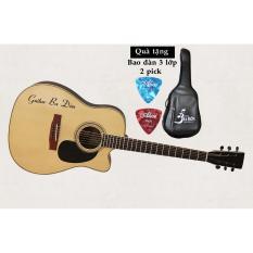 Đan Guitar Acoustic Ba Đờn J 260 Mau Gỗ Tặng Bao Đan Cao Cấp 3 Lớp Rẻ