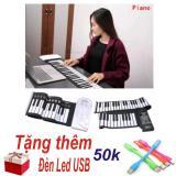Mã Khuyến Mại Đan Piano Điện Tử Ban Phim Cuộn Dẻo 49 Keys Trắng Hang Nhập Khẩu Tặng Đen Led Usb