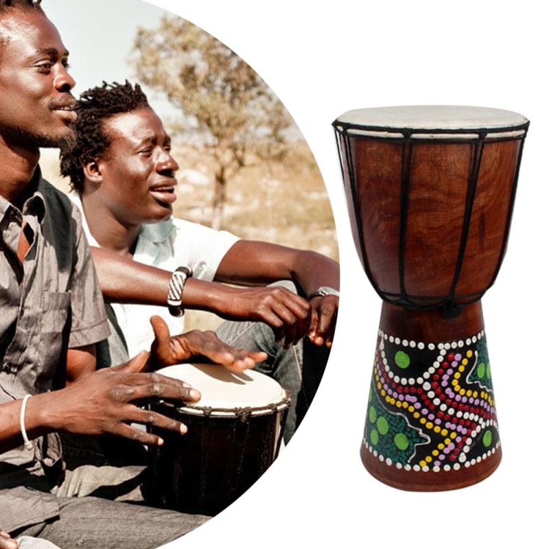 THỜI ĐẠI 6 inch Châu Phi Djembe Bộ Gõ Gỗ Gụ Tay Trống với Dê Bề Mặt Da-quốc tế