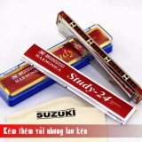 Ken Harmonica Tremolo Suzuki Study 24 Key C Bạc Kem Them Vải Nhung Lau Ken Rẻ
