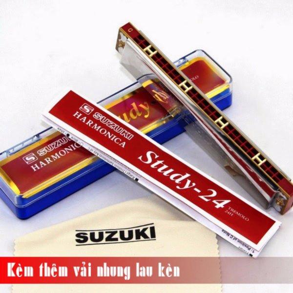 Kèn Harmonica Tremolo Suzuki Study 24 key C (Bạc)  - Kèm thêm vải nhung lau kèn - Việt Hoàng Phong