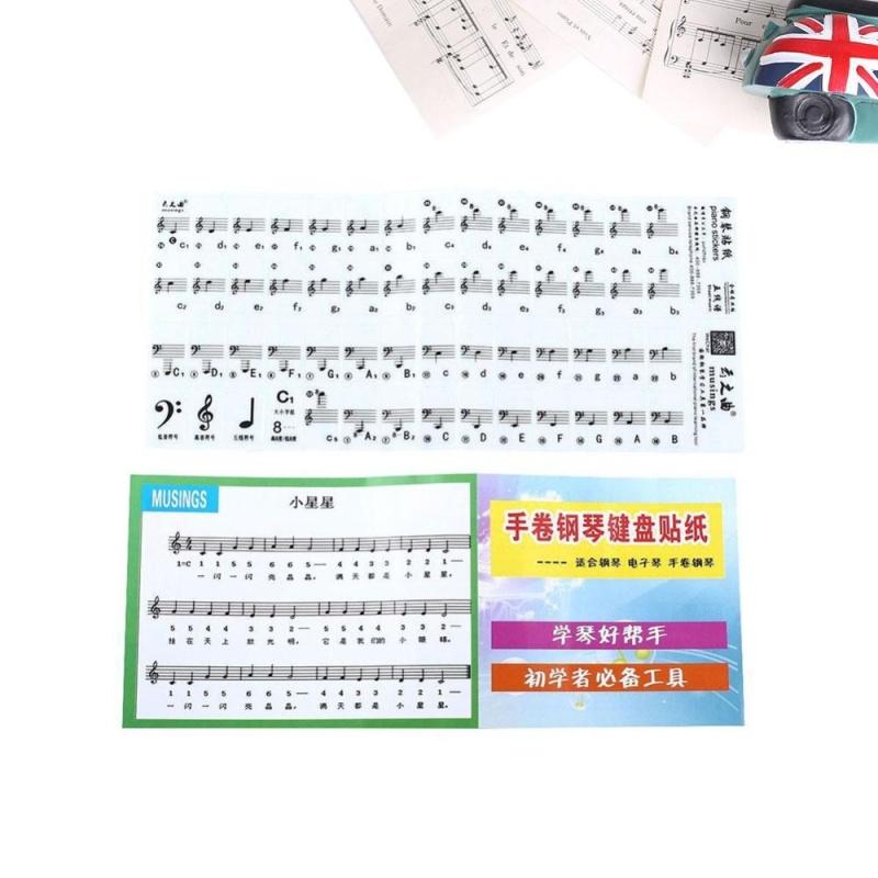 Bàn Phím Piano Điện Tử Miếng Dán Bàn Phím Nhạc Decal Dán Nhãn Note Học Kid-quốc tế