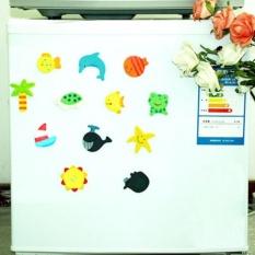 Hình ảnh 12pc/set Colorful Kid Baby Wood Cartoon Fridge Magnet Child Educational Toy - Intl- - intl