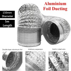 Hình ảnh 150mm Aluminum Foil Flexible Ducting 5/10M Foil Air Ventilation Duct Hydroponic (5m) - intl