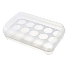 Hình ảnh 2 tầng 15 Lỗ Nhựa Trứng Hộp Đựng có Tay Cầm Tủ lạnh Bảo Quản trứng Giá Đỡ Hộp (Trắng) -quốc tế