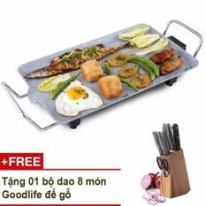 Bàn nướng điện mặt vân đá Mishio MK04 (xám) + Tặng bộ dao đế gỗ 8 món Goodlife