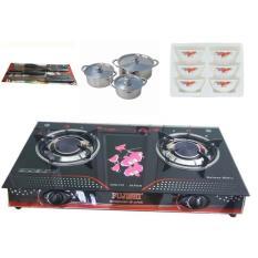 Hình ảnh ( SHOP ĐỒNG GIÁ 599K ) Bếp ga hồng ngoại tặng kèm bộ nồi inox 3 cái,bộ chén và bộ dao kéo