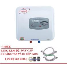 Bình Nước Nóng Chống Giật Rossi R15Ti 15 lít (Trắng) Free 02 dây cấp inox, 02 Kép inox, 1 băng tan đủ bộ lắp bình