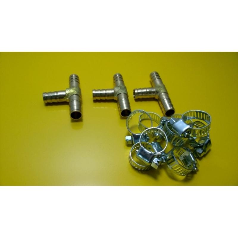 Bộ 3 tê đồng nối ống 10mm + kèm 9 quai nhê (đai thít)