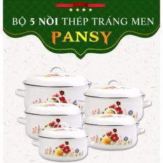 Hình ảnh Bộ 5 Nồi Tráng Men Ceramic Cao Cấp Hoa Pansy 2018