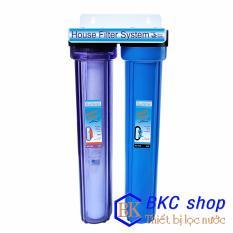 Bộ lọc nước sinh hoạt 2 cấp lọc 20 inch (PP+GAC) (xanh trong - xanh)