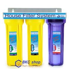 Bộ lọc nước sinh hoạt tiêu chuẩn 3 cấp lọc 10 inch (trong-vàng)