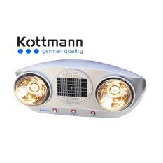 Đèn Sưởi Kottmann 2 Bóng Thổi Gió Nóng (Bạc)