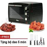 Lò nướng điện Mishio 20 lít MK02 (đen) + Tặng bộ dao làm bếp 5 món